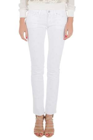 Isabel Marant Etoile White Dot Embroidered Denim Skinny Rumba Jeans M