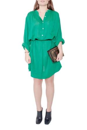 Isabel Marant Etoile Emerald Green Cotton Blend Belted Iban Shirt Dress S