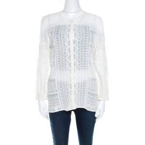 Isabel Marant Off White Embroidered Voile Long Sleeve Shirt M