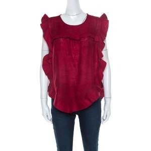 Isabel Marant Burnt Red Slub Silk Ruffled Trim Sidony Curved Hem Top M