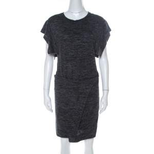Isabel Marant Etoile Dark Grey Jersey Waist Tie Wrap Dress M