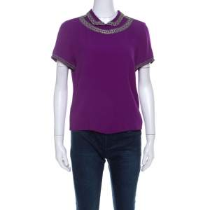 Isabel Marant Purple Silk Embellished Collar Half Sleeve Top L