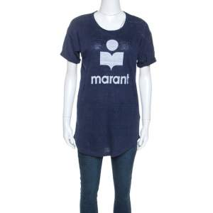 Isabel Marant Navy Blue Moby Logo Printed Linen T-shirt M