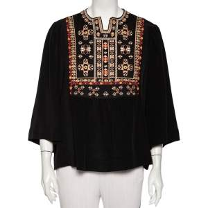 Isabel Marant Black Silk Embroidered Roma Top L