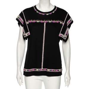 Isabel Marant Black Cotton Embellished Round Neck Top L
