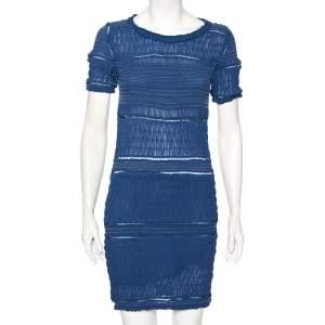 Isabel Marant Blue Silk Ruched Smock Detail Short Dress M