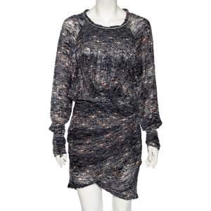Isabel Marant Blue Printed Synthetic Long Sleeve Ellos Ikat Short Dress M
