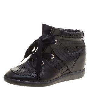 Isabel Marant Black Perforated Leather Baya Wedge Sneakers Size 40