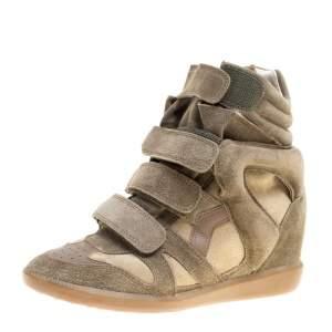 Isabel Marant Moos Green Suede Bekett Wedge Sneakers Size 38