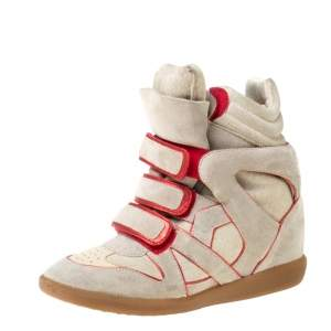 Isabel Marant Grey Suede And Metallic Red Leather Trim Bekett Wedge Sneakers Size 37