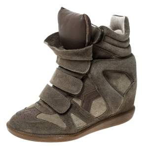 Isabel Marant Green Suede Bekett Wedge High Top Sneakers Size 36