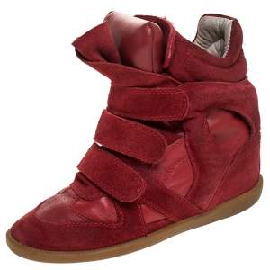 Isabel Marant Red Suede and Leather Bekett High Top Sneakers Size 38
