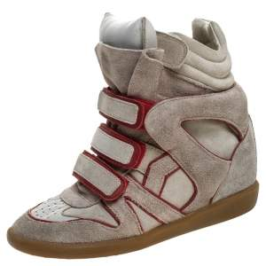 Isabel Marant Grey Suede with Metalllic Red Leather Trim Bekett Wedge Sneakers Size 38