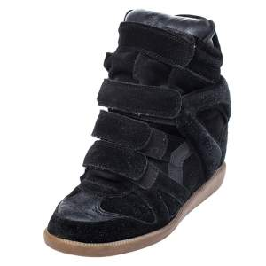 Isabel Marant Black Suede And Leather Bekett Wedge Sneakers Size 36