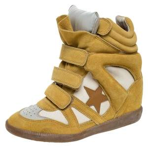 Isabel Marant Yellow/Beige Suede and Canvas Bayley Star Wedge Sneakers Size 37