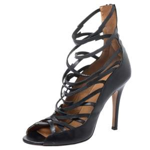 Isabel Marant Black Leather Paw Strappy Sandals Size 38