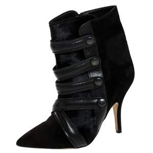 Isabel Marant Black Suede And Pony Hair Pointed Toe Ankle Boots Size 37
