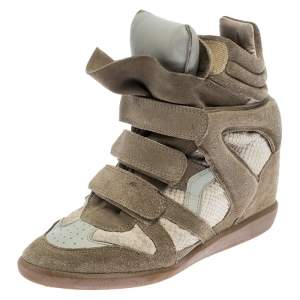 Isabel Marant Beige Suede And Leather Bekett Wedge Sneakers Size 39