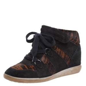 Isabel Marant Black Printed Ponyskin and Suede Blossom Lace Up Wedge Sneakers Size 39