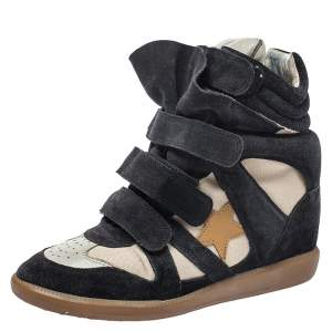 Isabel Marant Black Suede And White Canvas Bekett Wedge Sneakers Size 38