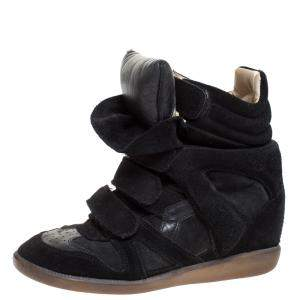 Isabel Marant Black Suede And Leather Bekett Sneakers Size 38