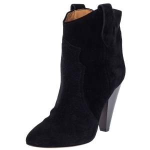 Isabel Marant Black Suede Roxann Ankle Boots Size 38