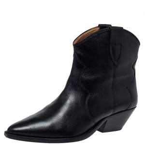 Isabel Marant Black Leather Dewina Ankle Boots Size 39