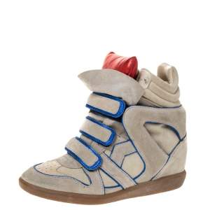 Isabel Marant Grey Suede with Metalllic Blue/Red Leather Trim Bekett Wedge Sneakers Size 39