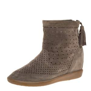 """Isabel Marant Grey Cutout Suede Tassel Embellished """"Beslay"""" Wedge Ankle Boots Size 38"""
