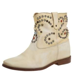Isabel Marant Cream Studded Leather Boots Size 39