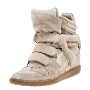 Isabel Marant Beige Suede Leather Bekett Wedge High Top Sneaker Size 38