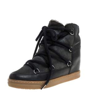 Isabel Marant Black Suede And Leather Nowels Wedge High Top Sneakers Size 38