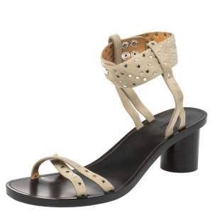 Isabel Marant Pale Green Suede Joakee Studded Ankle Strap Sandals Size 38