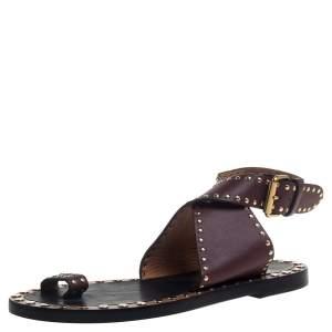 Isabel Marant Red Studded Leather Jeppys Flat Sandals Size 38