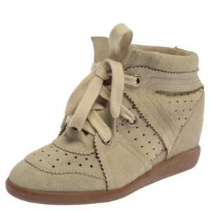 Isabel Marant  Light Grey Suede Bobby Lace Up Wedge Sneakers Size 37