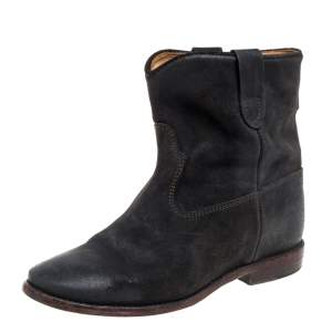 Isabel Marant Olive Green Suede Ankle Boots Size 38