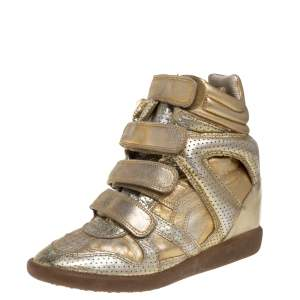 Isabel Marant Metallic Gold Leather Bekett Wedge Sneakers Size 37
