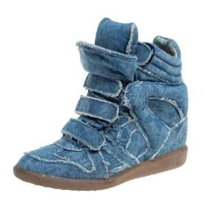 Isabel Marant Blue Canvas Wedge High Top Sneaker Size 38