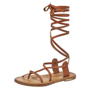 Isabel Marant Tan Leather Amy Lace-Up Flat Sandals Size 35
