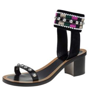 Isabel Marant Black Leather And Suede Embellished Joss Ankle Cuff Sandals Size 38
