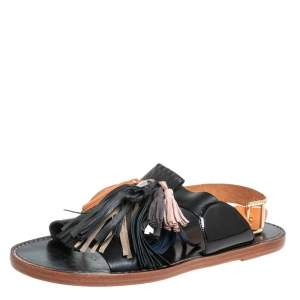 Isabel Marant Etoile Black/Brown Leather Clay Tassel Flat Sandals Size 40