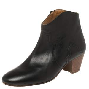 Isabel Marant Black Leather Dicker Ankle Length Boots Size 38