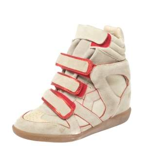 Isabel Marant Grey Suede with Metallic Red Leather Trim Bekett Wedge Sneakers Size 36