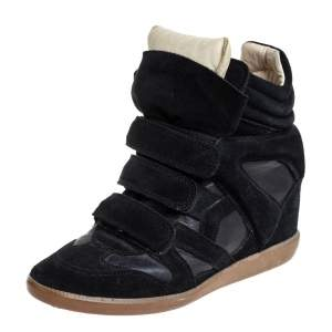 Isabel Marant Black Suede And Leather High Top Wedge Sneakers Size 39
