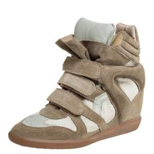 Isabel Marant Grey Suede And Leather High Top Wedge Sneakers Size 39