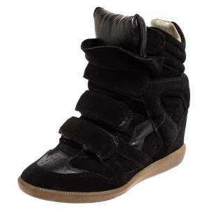Isabel Marant  Black Suede Velcro High Top Sneakers Size 37