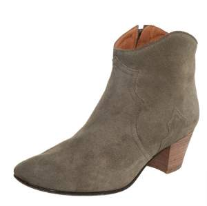 Isabel Marant Grey Suede Zipper Ankle Boots Size 38.5
