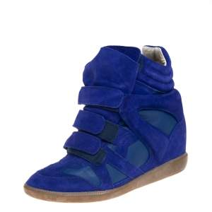 Isabel Marant Blue Suede And Leather Trim Bekett Wedge Sneakers Size 40