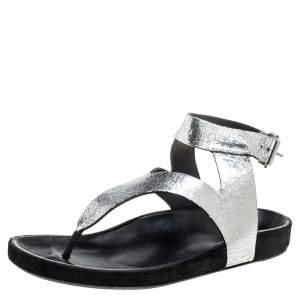 Isabel Marant Silver Leather Flat Ankle Strap Sandals Size 41
