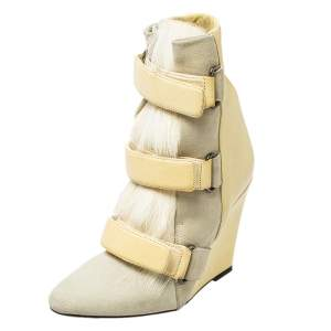 Isabel Marant Cream Leather, Suede, And Calf Hair Pierce Wedge Ankle Boots Size 37